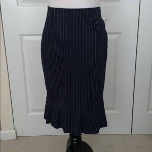 WHBL navy pinstripe flounce skirt